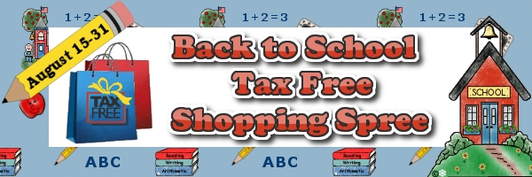 TAX FREE BACK TO SCHOOL SHOPPING SPREE!