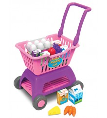 toy shopping cart with pretend food